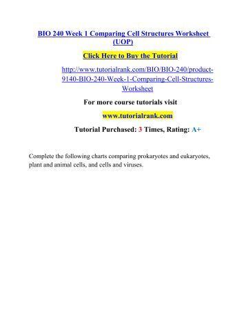 Cell Structure Worksheet Bio 240: BIO 240 Week 1 Comparing Cell Structures Worksheet,