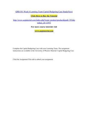 Qrb 501 Capital Budgeting Case Free Essays