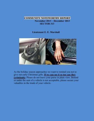 COMMUNITY NOTEWORTHY REPORT - City of Richmond