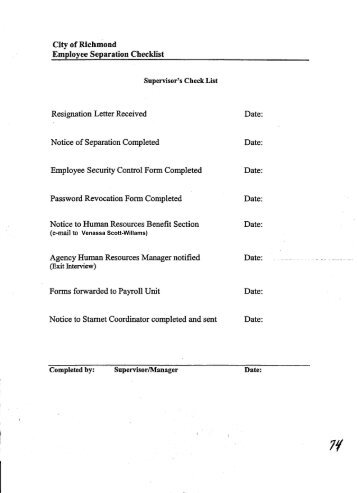 Employee Separation List - City of Richmond