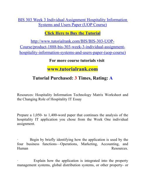BIS 303 Week 3 Individual Assignment Hospitality Information