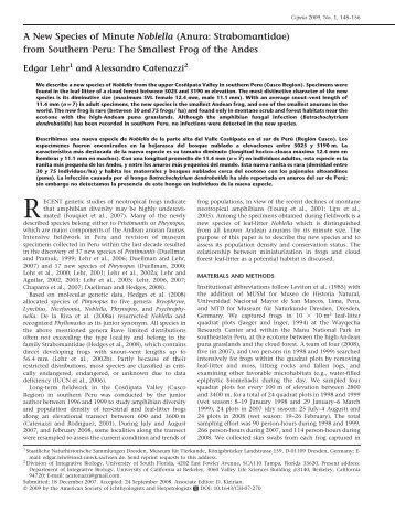 Copeia 2009, No. 1, 148–156 - The Rufford Small Grants Foundation