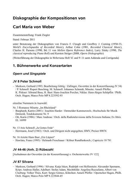 Diskographie der Kompositionen von Carl Maria von Weber