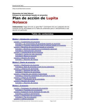 Plan de acción de Lupita Nolasco