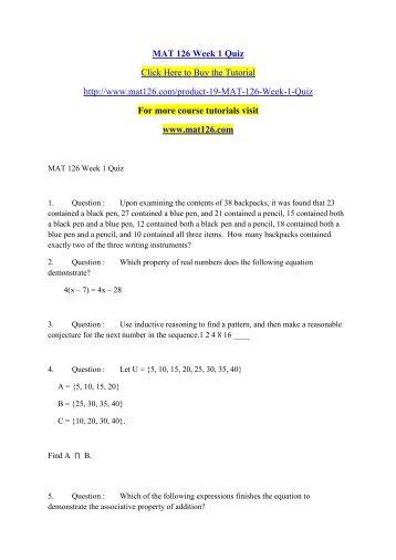 MAT 540 Week 1 Quiz