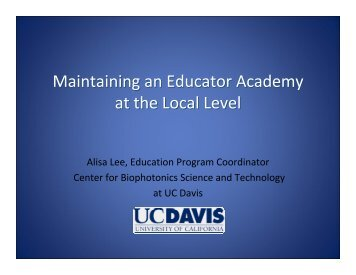 Maintaining an Educator Academy at the Local Level