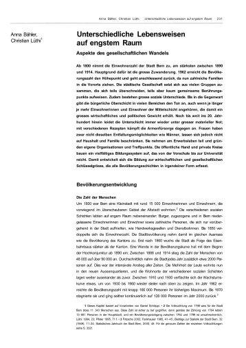 Bern im 19 und 20 Jh - Gesellschaftlicher Wandel 1. Teil