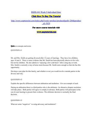 BSHS 441 Week 5 Individual Quiz/Uoptutorial