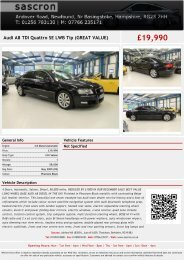 Audi A8 TDI Quattro SE Tip (GREAT VALUE) £21990 - Sascron