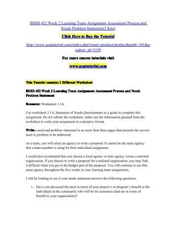 BSHS 452 Week 2 Individual Assignment Worksheet