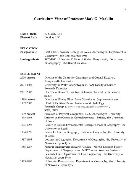 Pdf Curriculum Vitae Of Professor Mark Graham Macklin