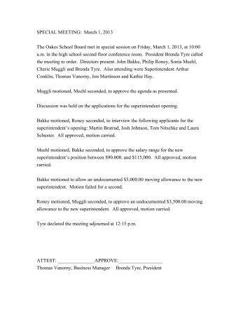 SPECIAL MEETING: March 1, 2013 The Oakes School Board met in ...