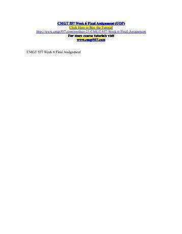 CMGT 557 UOP Tutorials/UOPhelp Essay