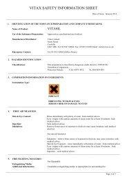 VITAX SAFETY INFORMATION SHEET