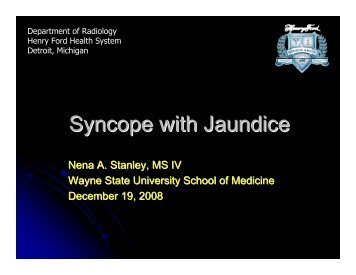 Syncope with Jaundice