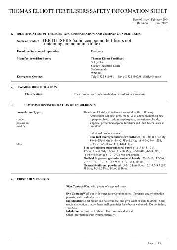 THOMAS ELLIOTT FERTILISERS SAFETY INFORMATION SHEET