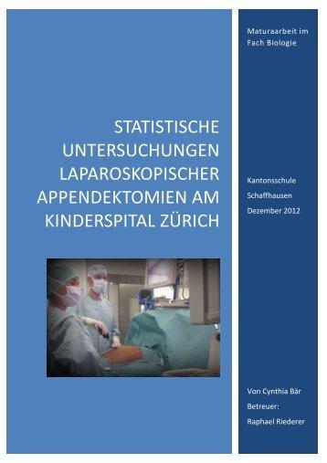 Statistische Untersuchungen laparoskopischer ... - kantiriederer.ch
