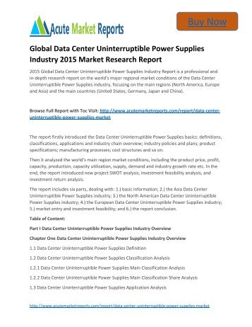 Global Data Center Uninterruptible Power Supplies Industry 2015 Market - Global Industry Share, Size, Trends and Forecasts