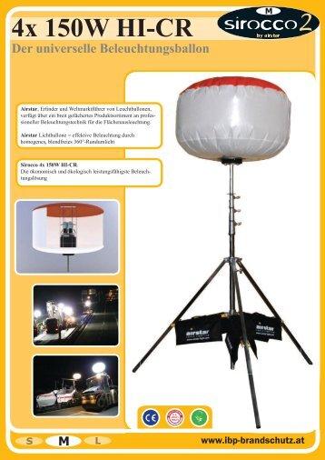 4x 150W HI-CR Der universelle Beleuchtungsballon - IBP Brandschutz