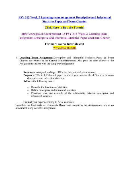 PSY 315 Week 2 Learning team assignment Descriptive and