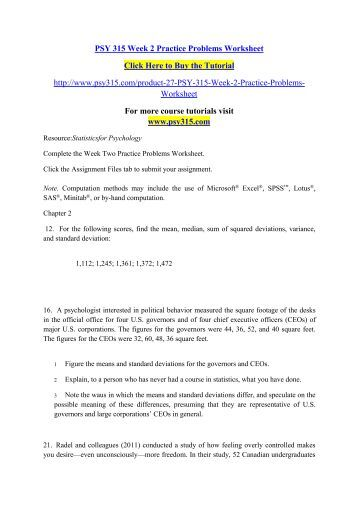psy315 week two practice problems Psy 315 week 2 week two practice problems worksheet resource: statistics for psychology documents similar to psy 315 psy315doc skip carousel.