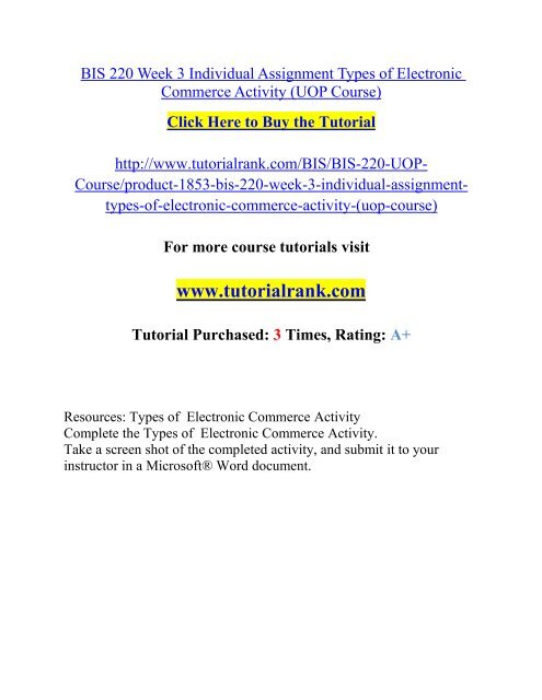 BIS 220 Week 3 Individual Assignment Types of Electronic Commerce