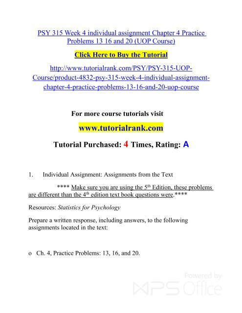 PSY 315 Week 4 individual assignment Chapter 4 Practice