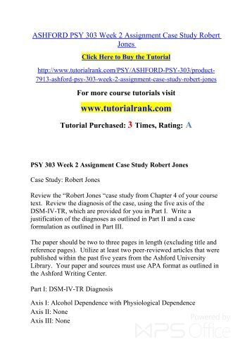 Psy 303 Week 2 Assignment Case Study Robert Jones