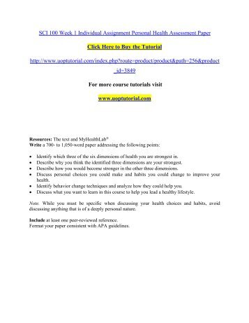 SCI 100 Week 1 Individual Assignment Personal Health Assessment Paper/ Uoptutorial