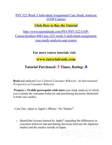 PSY 322 Week 2 Individual Assignment Marketing Communication Memo