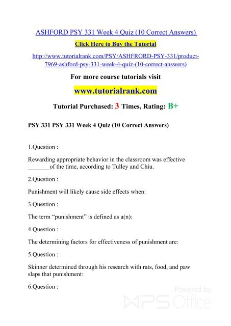 ASHFORD PSY 331 Week 4 Quiz pdf