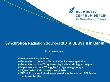 Synchrotron Radiation Source R&D at BESSY II in Berlin