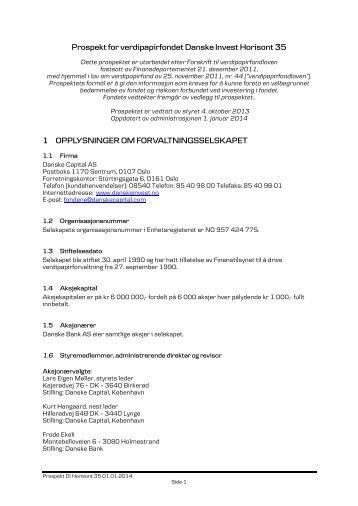 Prospekt for fondet - Danske Invest