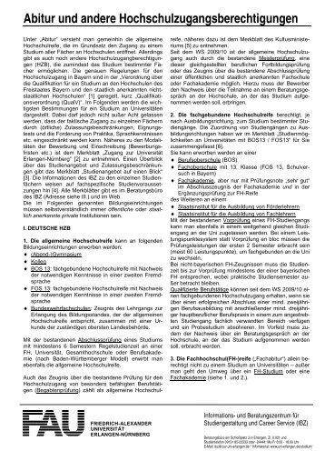 Abitur und andere Hochschulzugangsberechtigungen
