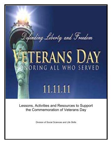 Lessons Activities and Resources to Support the Commemoration of Veterans Day