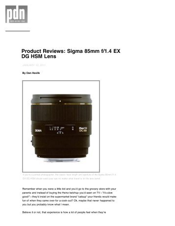 Product Reviews Sigma 85mm f/1.4 EX DG HSM Lens