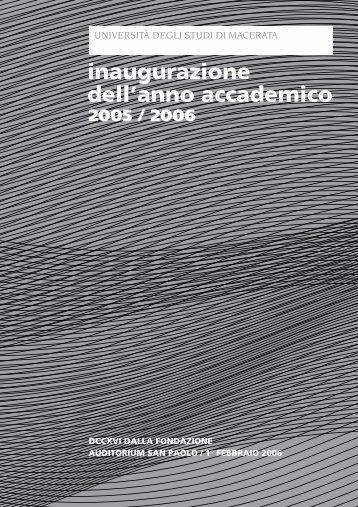 inaugurazione dell'anno accademico 2005 / 2006 - Università degli ...