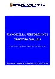 piano della performance triennio 2011-2013 - Università degli Studi ...