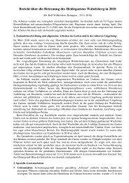 Bericht über die Betreuung des Heidegartens Wabelsberg in 2010
