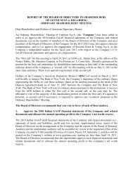 REPORT OF THE BOARD OF DIRECTORS TO ... - Gentium SpA