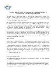 Gentium Appoints Link Pharmaceuticals as Exclusive ... - Gentium SpA