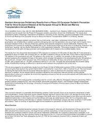 Gentium Announces Preliminary Results from a ... - Gentium SpA