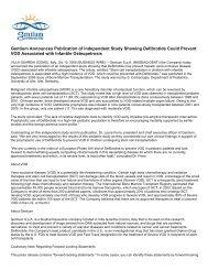 Gentium Announces Publication of Independent ... - Gentium SpA