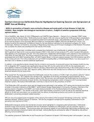 Gentium Announces Defibrotide Results Highlighted ... - Gentium SpA