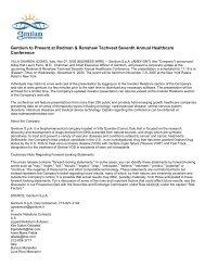 Gentium to Present at Rodman & Renshaw Techvest ... - Gentium SpA