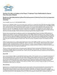 Gentium Provides an Update on the Phase 3 ... - Gentium SpA