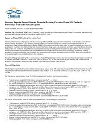 Gentium Reports Second Quarter Financial Results ... - Gentium SpA