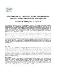 Gentium Submits Day 180 Response to List of ... - Gentium SpA