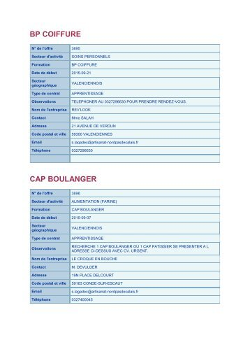 BP COIFFURE CAP BOULANGER