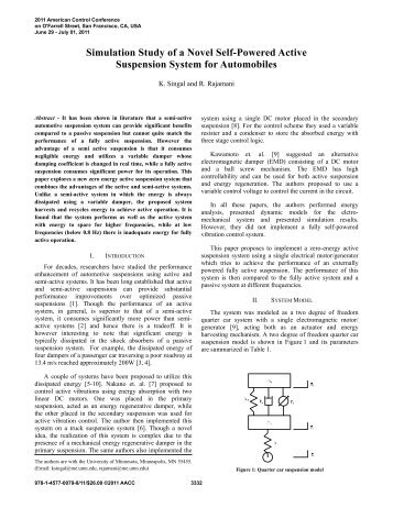 Simulation Study of a Novel Self-Powered Active Suspension ...
